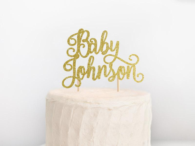 Baby Shower Cake Topper, Baby Name Cake Topper, Custom Baby Shower ...