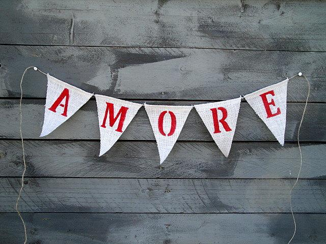 Mariage - Amore burlap bunting banner
