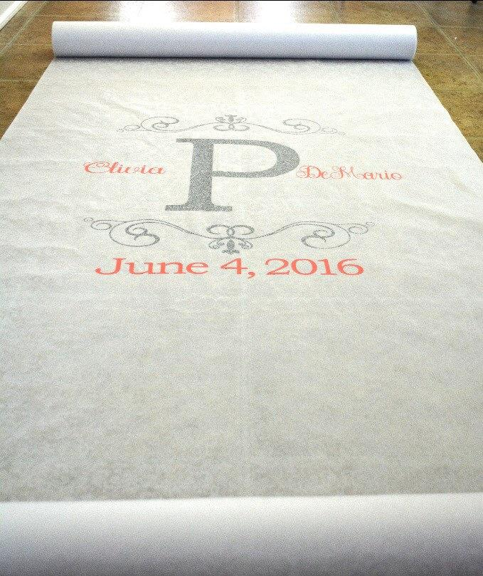 Mariage - Initial Glitter Monogrammed Aisle Runner for  WEDDING or Special Event - 25ft - Personalized for YOUR ceremony