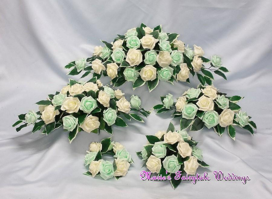 Mariage - Artificial Wedding Flowers, Top Table Centerpiece Decoration Arrangement, Candle Ring in Mint Green Colourfast Foam Roses