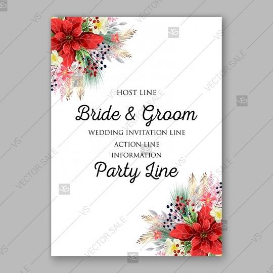 Wedding - Poinsettia Wedding Invitation card winter floral Christmas Party wreath