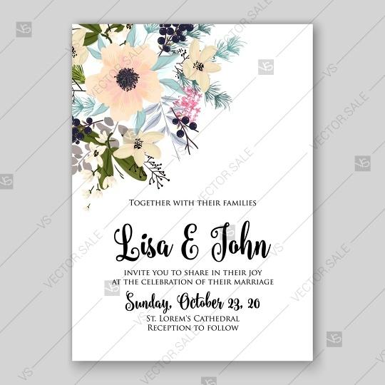Hochzeit - Anemone wedding invitation card printable template