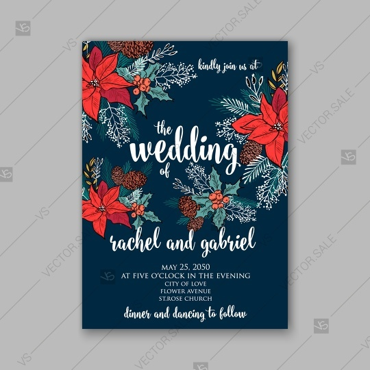 Mariage - Merry Christmas Party invitation poinsettia wreath poster vector template