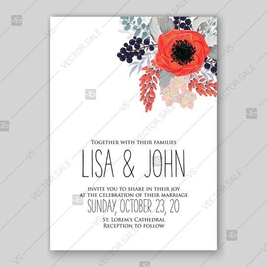 Свадьба - Anemone wedding invitation vector template card