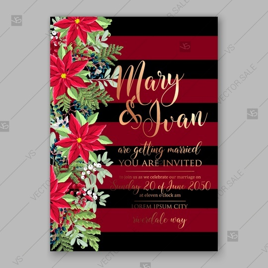 Hochzeit - Poinsettia wedding invitation red floral wreath vector card template