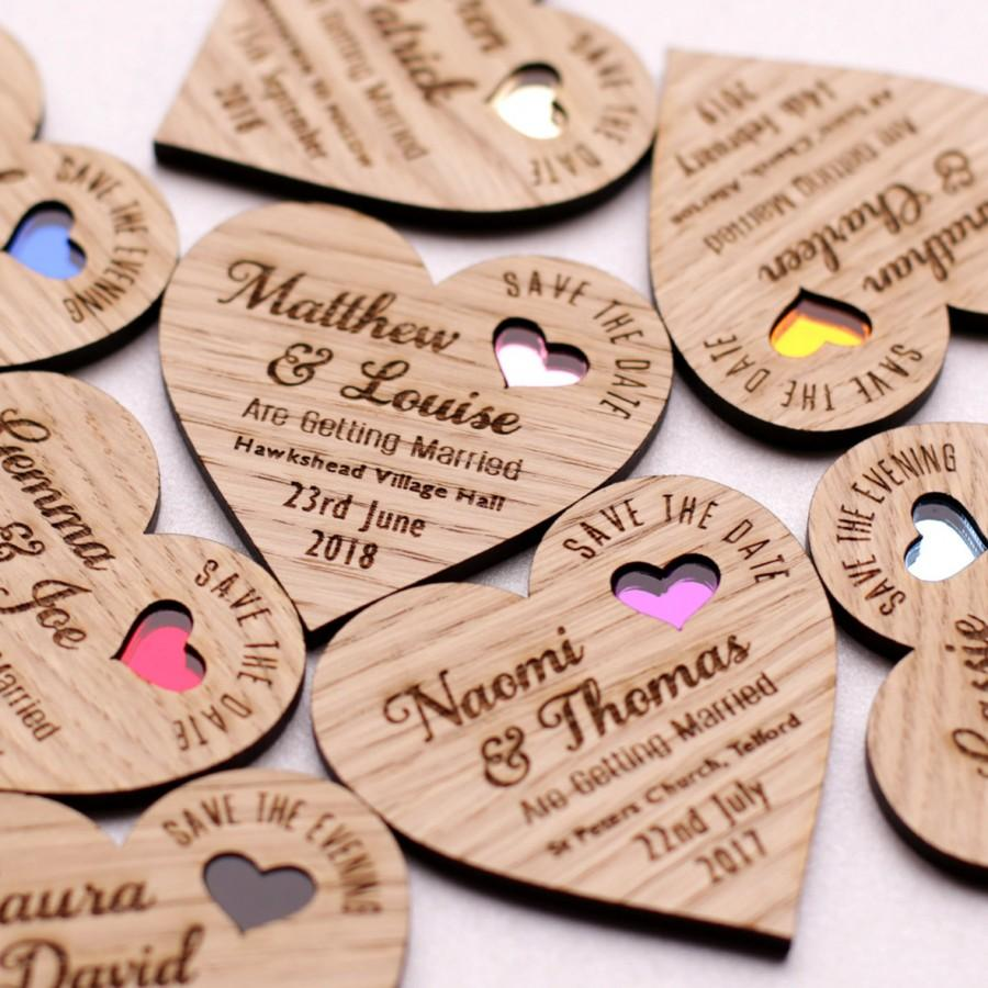 Hochzeit - Save the date magnet, Wood save the date, Rustic Wooden save the date, Save the date heart, Coloured heart save the date, Wedding magnet