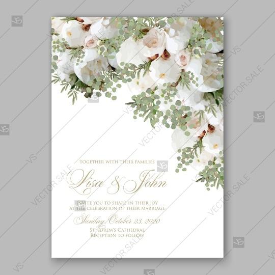 Свадьба - Soft white peony wedding invitation vector card template