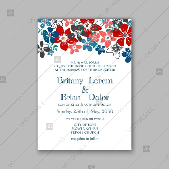 Hochzeit - Daisy wedding invitation or card with tropical floral background