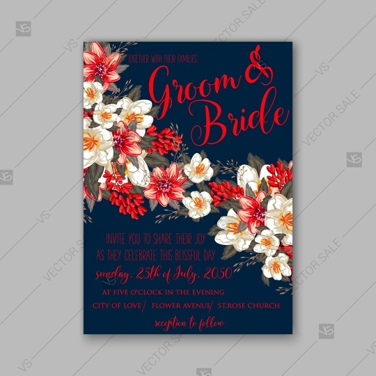 Wedding - Romantic red peony flowers the bride's bouquet. Wedding invitation card template design
