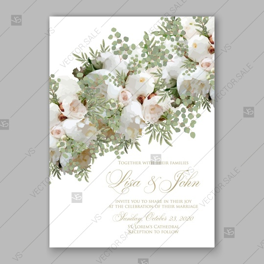 Mariage - Soft white peony wedding invitation vector card template