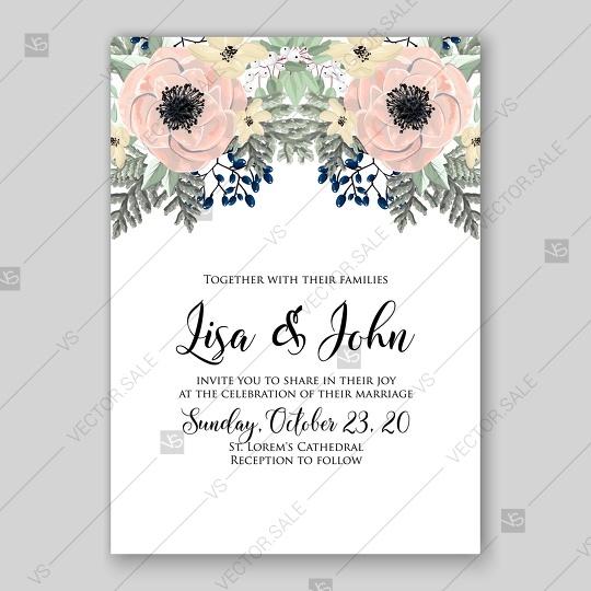 Wedding - Anemone wedding invitation vector template card
