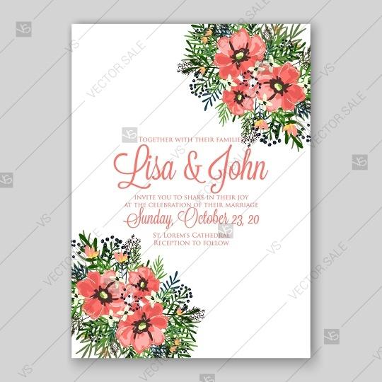 Wedding - Anemone wedding invitation card printable template