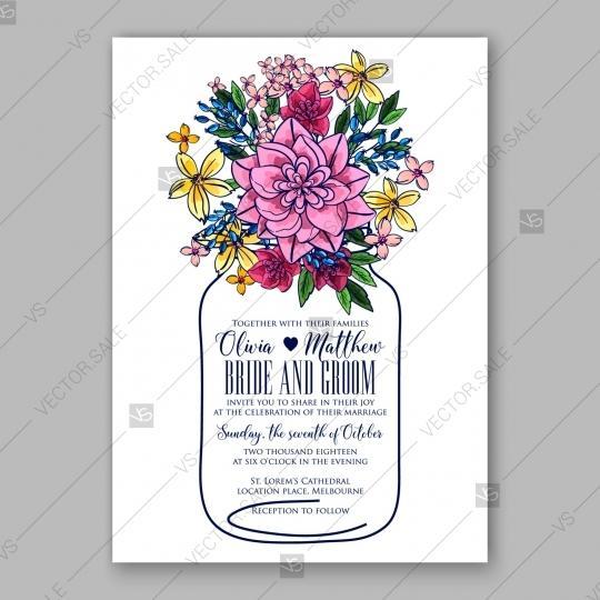 Mariage - Pink chrysanthemum wedding invitation card printable template