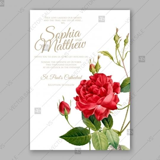 Watercolor Vintage Rose Wedding Invitation Card Template