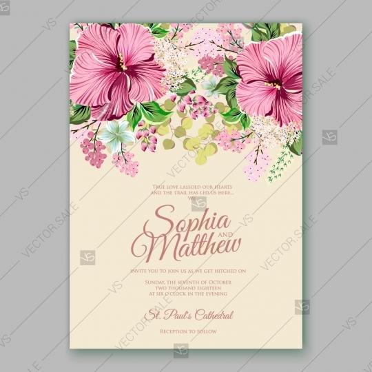 Hibiscus Wedding Invitation Card Template 2727581