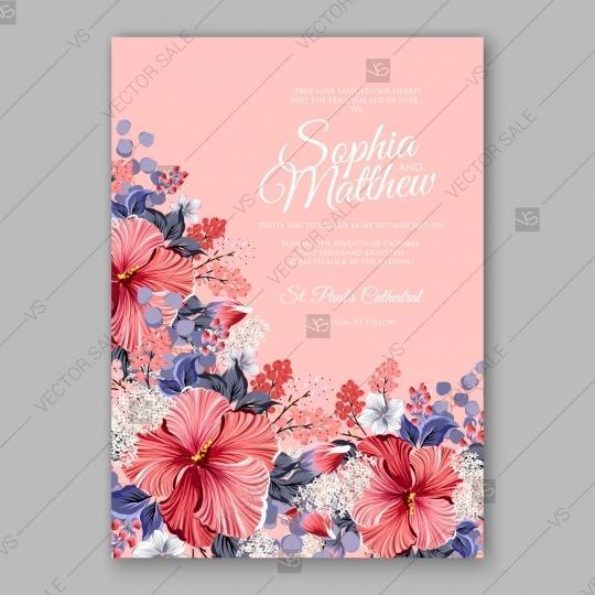 Свадьба - Hibiscus wedding invitation card template