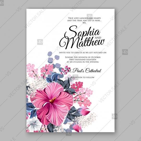 Wedding - Hibiscus wedding invitation card template