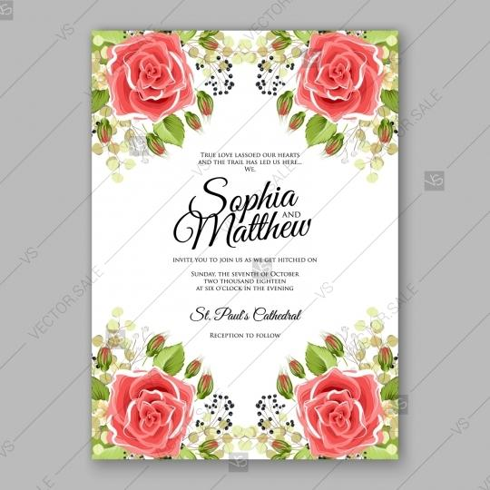 Red Rose Wedding Invitation Vector Flowers Template Card 2727595 – Red Rose Wedding Invitation