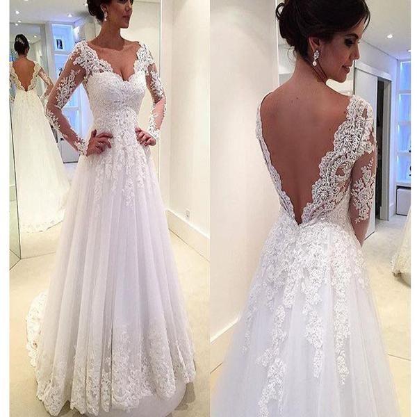 Mariage - Long Sleeve V-Back Lace A-line Vintage Romantic Plush Size Wedding Dress. RG0182