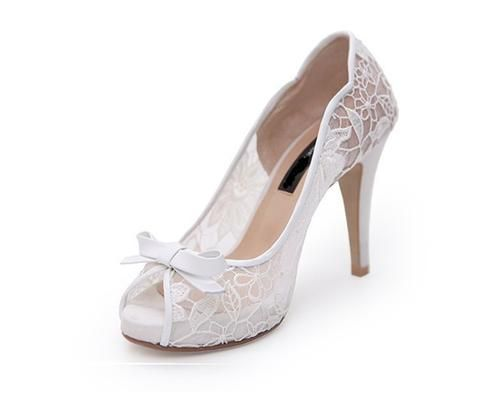 Hochzeit - Ivory Lace High Heels Fish Toe Sexy Wedding Bridal Shoes With Tow, S020