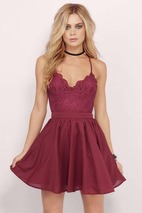 Wedding - Burgundy Lace Homecoming Dress,Chiffon Prom Dress,Cheap Evening Dress,MB 221 From Ms Black