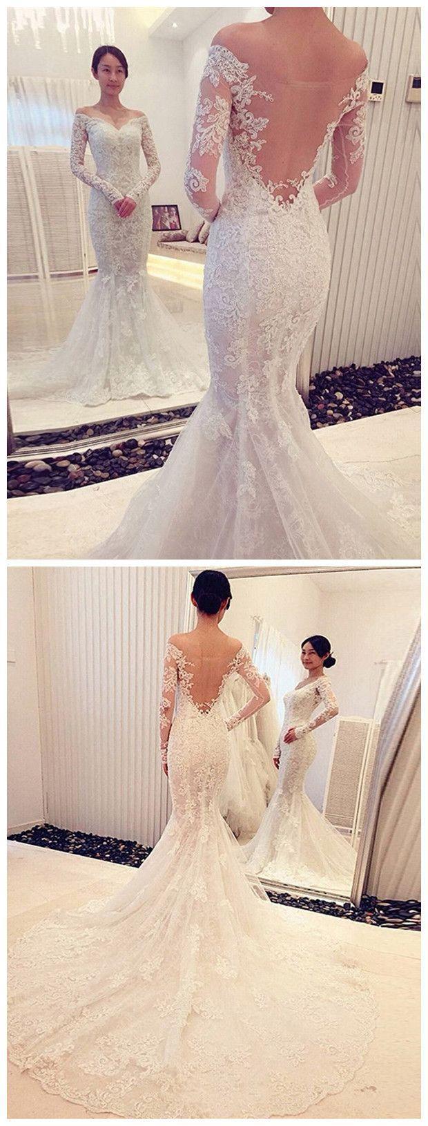Wedding - Trumpet/Mermaid Off-the-Shoulder Long Sleeves Lace Sweep/Brush Train Wedding Dresses