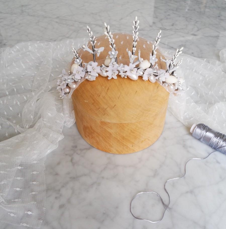 Mariage - Bride headpiece, Bridal floral crown, Headpiece wedding, Floral hair accessory, Bridal tiara, Bridal vine