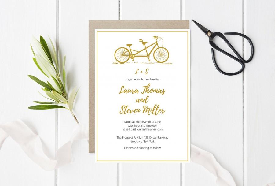 Tandem Bike Wedding Invitation Template, Gold Bicycle Invitations ...
