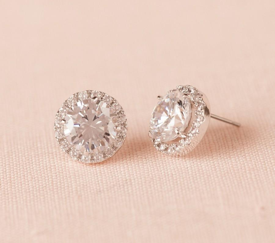 Crystal Stud Bridal Earrings Rose Gold Round Halo