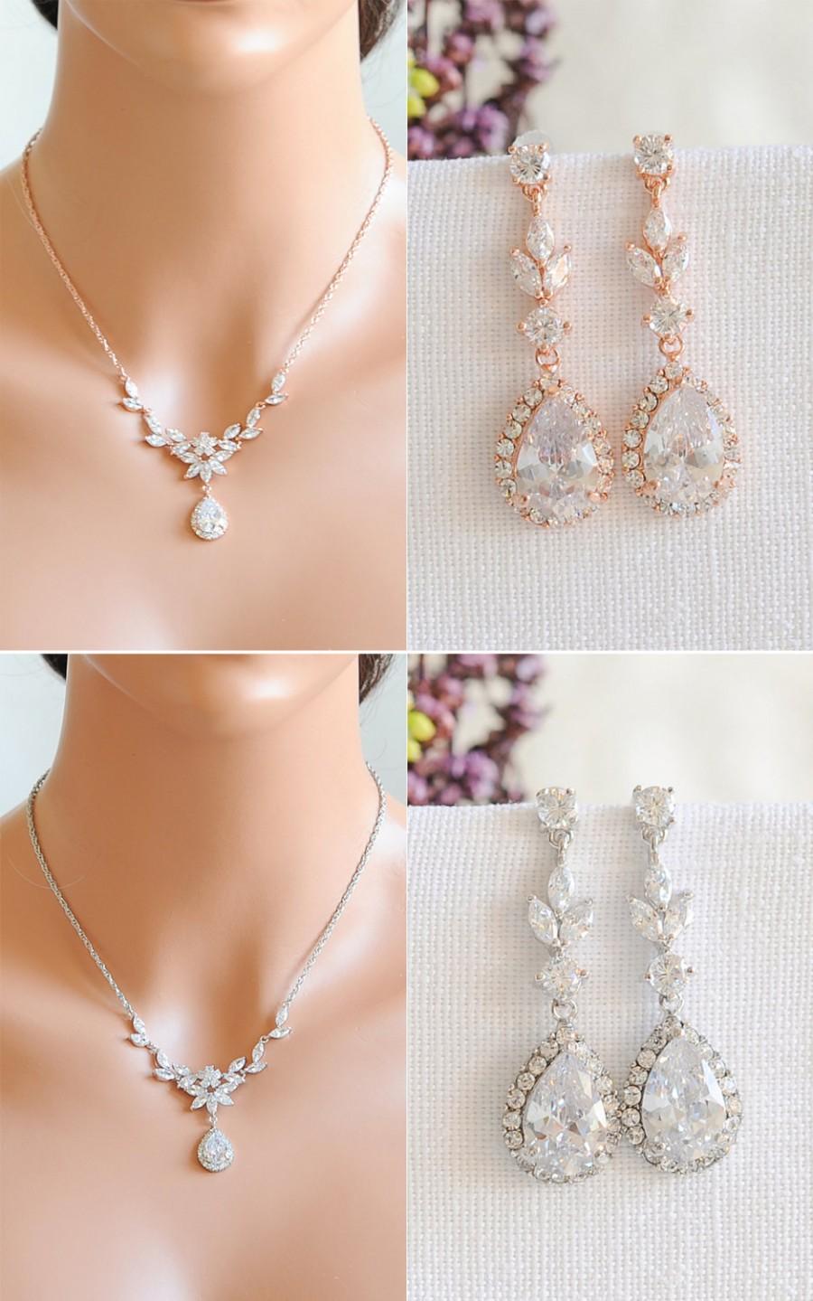 Rose Gold Wedding Jewelry Set Bridal Necklace Crystal Flower Leaf