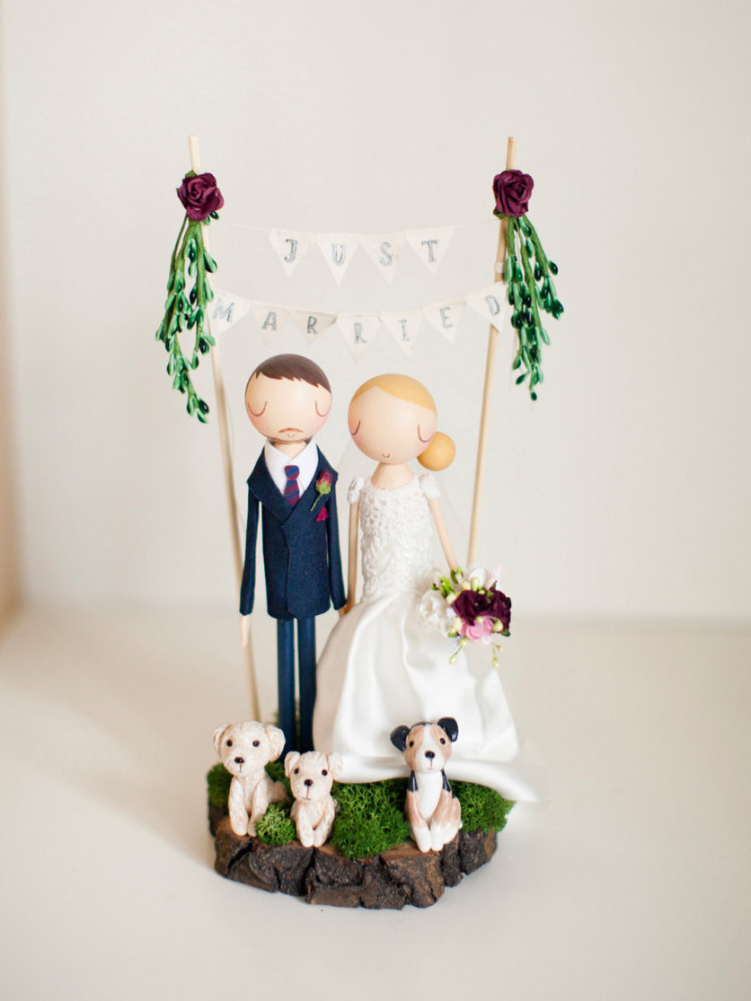 Mariage - Rustic Wedding Cake Topper, Boho Cake Topper, Boho Wedding, Wooden Topper,Wooden Peg Doll,Wedding Gift,Personalized,Boho wedding cake topper