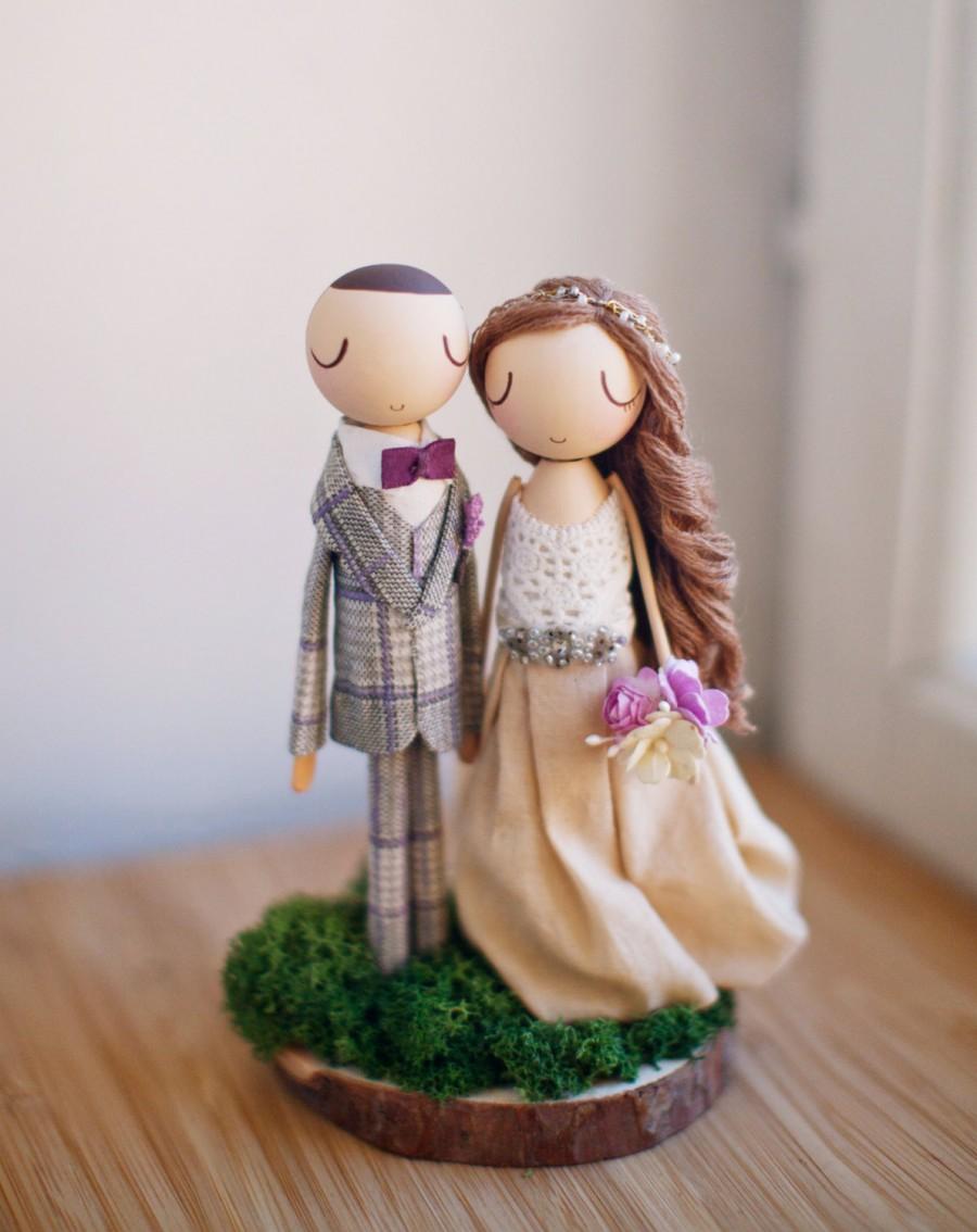 Hochzeit - Rustic Wedding Cake Topper,Cake Topper,Wooden Topper,Wooden Peg Doll,Wedding Gift,Personalized,Boho wedding cake topper