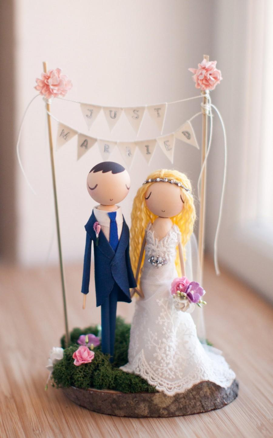 Hochzeit - Rustic Wedding Cake Topper, Boho Cake Topper, Boho Wedding, Wooden Topper,Wooden Peg Doll,Wedding Gift,Personalized,Boho wedding cake topper