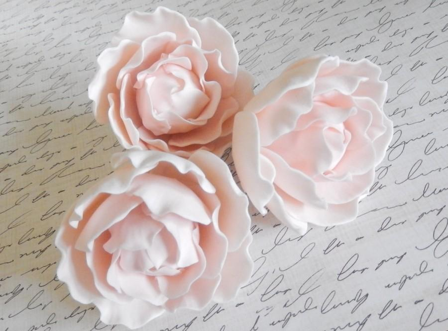Hochzeit - Pink Sugar Gumpaste Peonies Wedding Cake Topper Set of 3