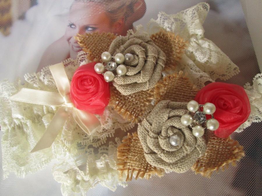 Wedding - BURLAP Wedding Garter Set, Coral Garters, Ivory Lace Garter, Rustic Garter, Burlap Roses, Vintage- Southern Country Bride