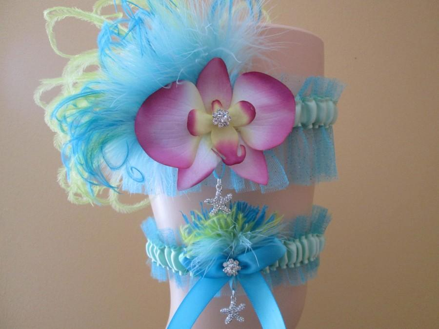 Свадьба - Something Blue Wedding Garter, Turquoise Bridal Garter Set, Aqua Blue Prom Garters, Teal Blue Garters w/ Starfish & Orchid, Beach Bride