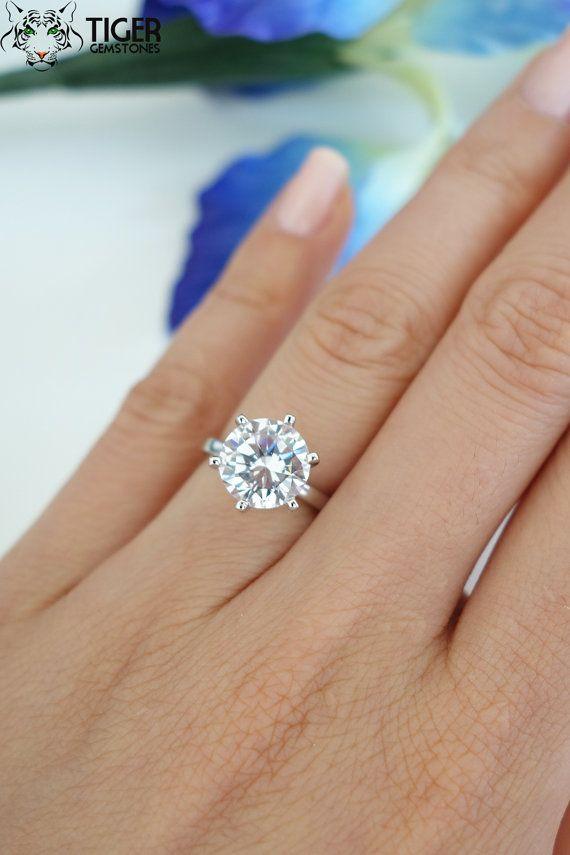 زفاف - 3 Ct Classic Solitaire Engagement Ring, Man Made Diamond Simulant, 6 Prong Wedding Ring, Bridal Ring, Promise Ring, Sterling Silver