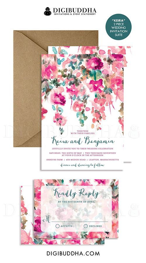 Watercolor flowers wedding invitation rsvp whimsical floral rustic watercolor flowers wedding invitation rsvp whimsical floral rustic invite pink teal 2 pc suite free priority shipping or diy keira m4hsunfo