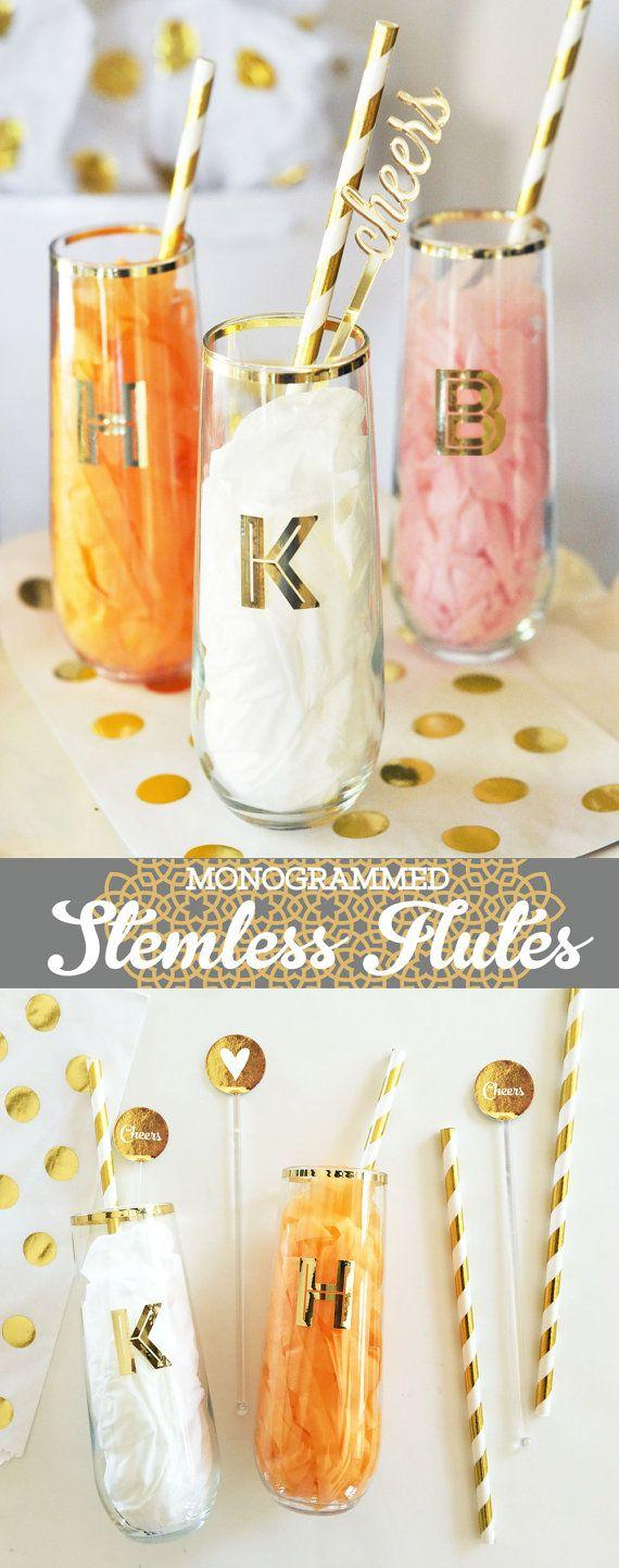 Wedding - Monogrammed Stemless Flutes