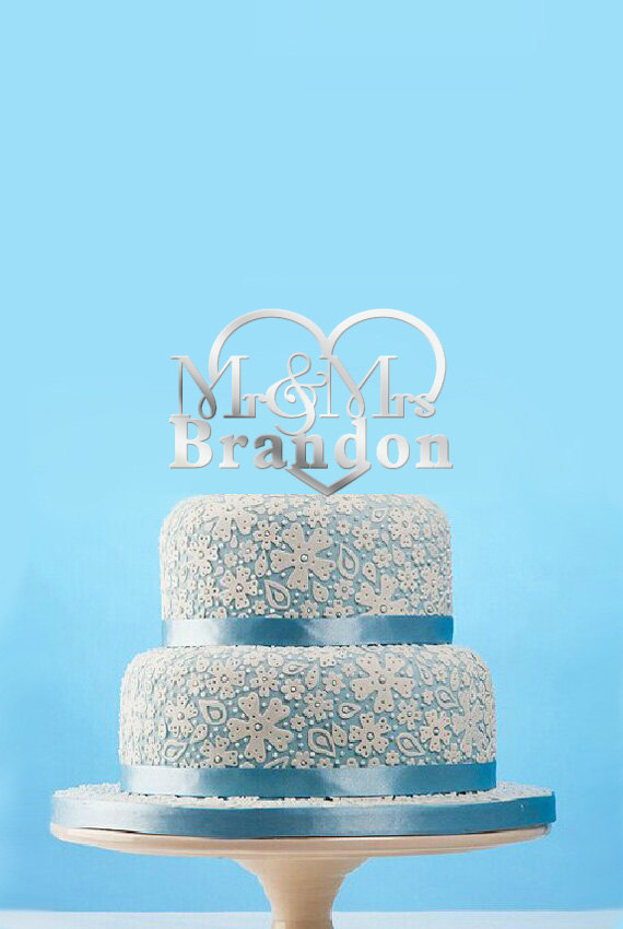 Свадьба - Mr Mrs Cake Topper Silver , Mr & Mrs Wedding Cake Topper, Personalized Name Cake Topper, Fancy Laser Acrylic Cake Topper-4554