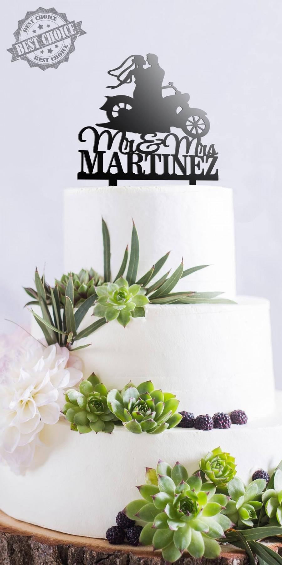 Свадьба - Personalized Wedding Cake Topper Customized Wedding Cake Topper With Bike Motorcycle Cake Topper Personalized Last Name Cake Topper Bike D#5