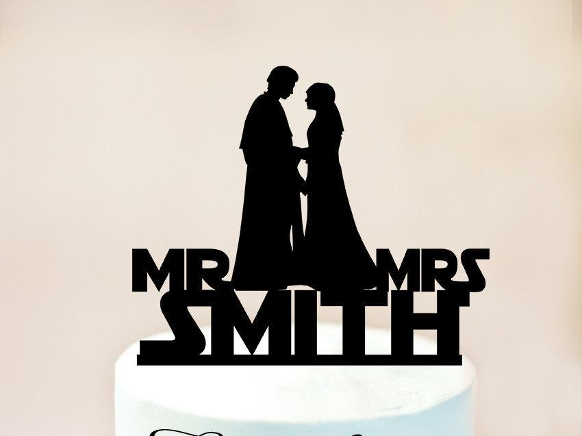 زفاف - Star Wars wedding cake topper, Star Wars Cake Topper, Anakin and Padme Cake Topper,Star Wars Silhouette,wedding cake topper Star Wars (1033)