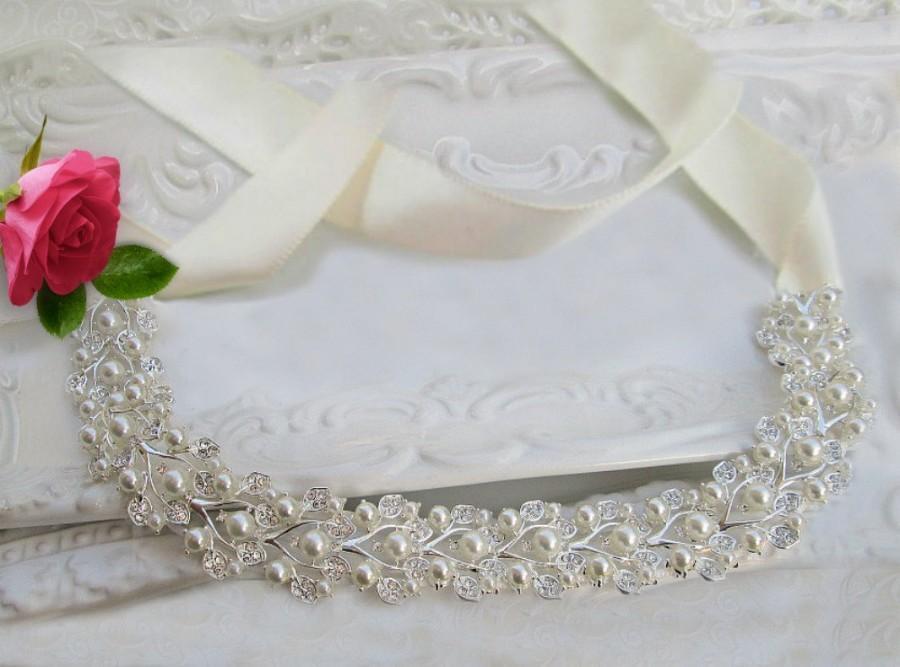 Свадьба - Sale pearl bridal sash, bridal belt, wedding sash, rhinestone belt ,rhinestone sash, crystal belt , wedding dress belt, wedding dress sash - $52.50 USD
