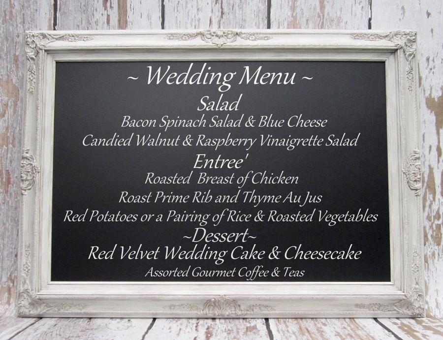 "Свадьба - LARGE DECORATIVE Wedding CHALKBOARDS For Sale Magnetic 44""x32"" Rustic Wedding Ivory Frame ExTRA LaRGE Chalk board Escort Card Holder"