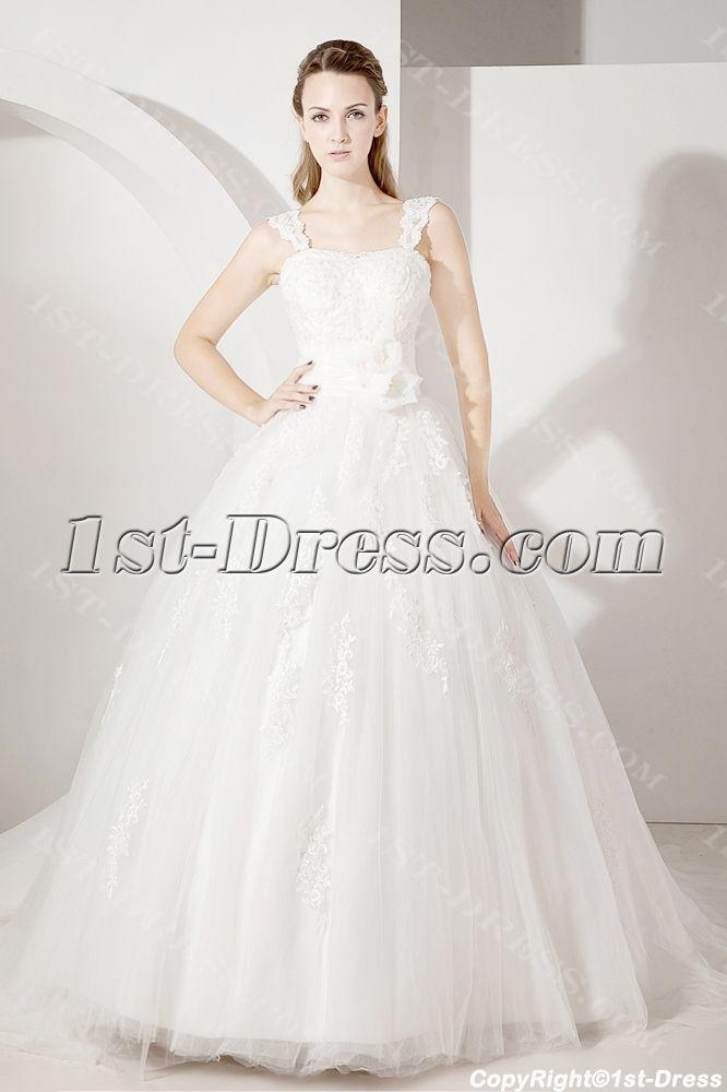 Wedding - Straps Lace Ball Gown Wedding Dress $230.00