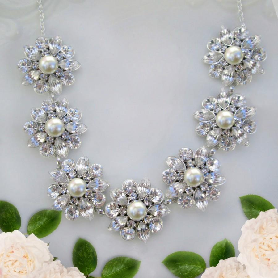 Crystal And Pearl, Wedding Statement Necklace, Bridal Jewelry, Rhinestone  Necklace With Pearls Wedding Jewelry, Chunky Silver Necklace  $6250 Usd
