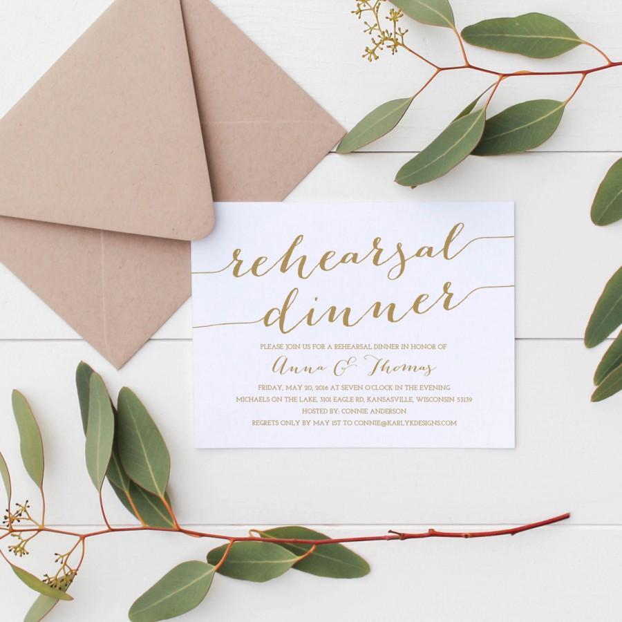 Hochzeit - Gold Rehearsal Dinner Invitation Template, Rehearsal Dinner Invitation Instant Download, Printable Rehearsal Dinner Invitations, 5x7