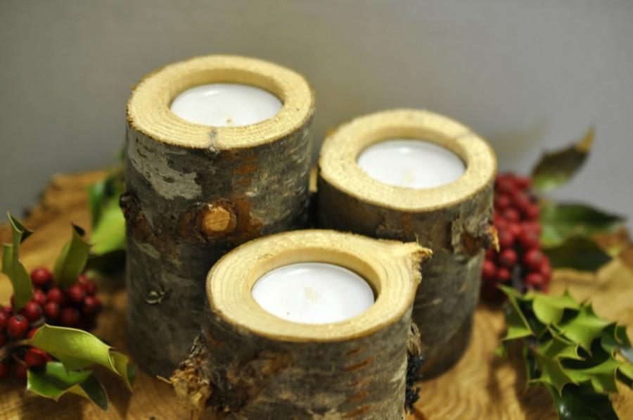"""Свадьба - 3 Rustic Wedding  candle holders 2.5""""-4"""" tall - Wedding candles - Rustic Decoration - Rustic Wedding Decoration -Wedding Centerpiece"""