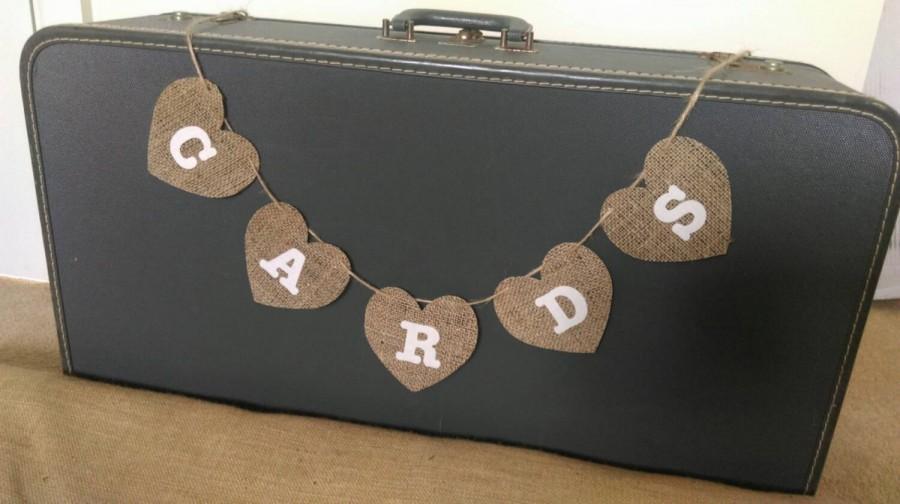 Hochzeit - Hessian heart bunting, CARDS box sign, burlap banner, rustic wedding decor, rustic hanging heart sign
