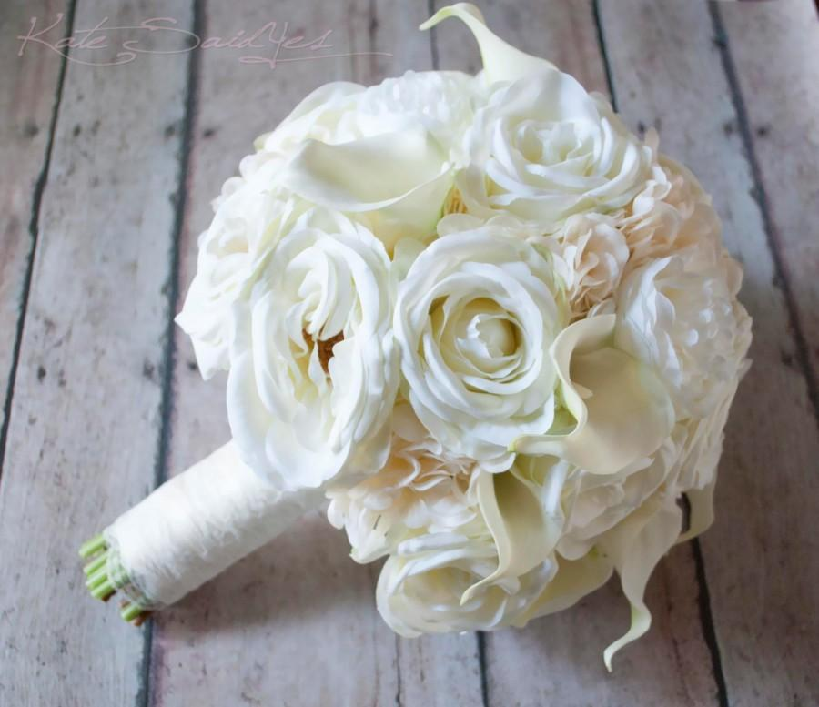 Mariage - Shabby Chic Wedding Bouquet - Ivory Rose Ranunculus Hydrangea Wedding Bouquet